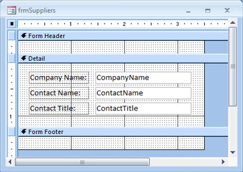 form design view access 2007 ms access 2007 display the form header in design view