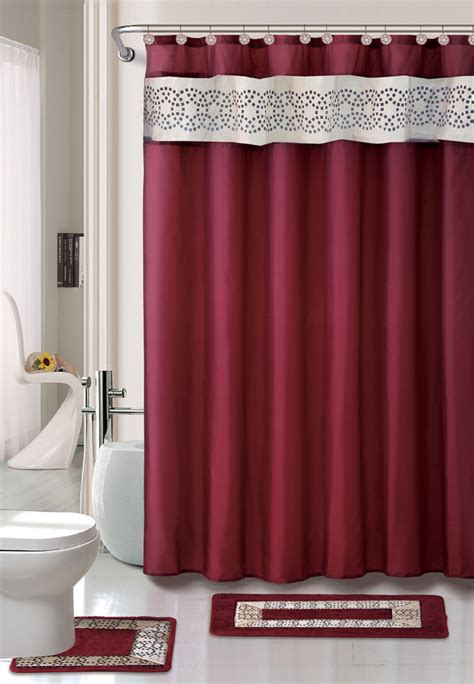Bathroom Sets With Shower Curtain And Rugs And Accessories Contemporary Bath Shower Curtain 15 Pcs Modern Bathroom Rug Mat Contour Hook Set Ebay
