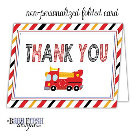printable thank you cards for firefighters fireman firetruck birthday thank you cards fire truck