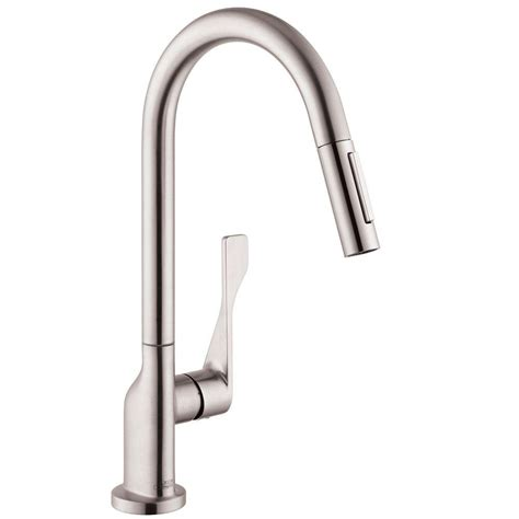 kitchen faucets hansgrohe hansgrohe axor citterio single handle pull out sprayer kitchen faucet in steel optik 39835801