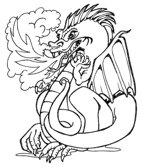 dragon coloring page fierce fire breathing dragon