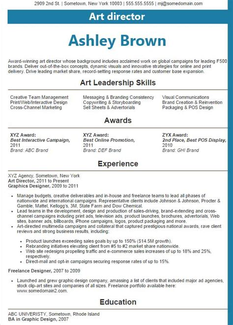 resume layout exles 2016 art director resume exles 2016
