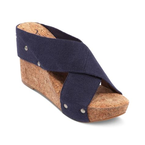 lucky brand wedge sandals lucky brand miller 2 wedge sandals in blue navy lyst