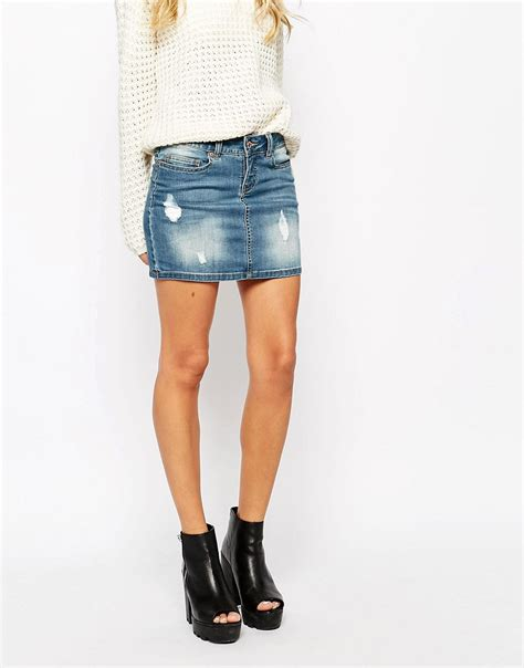 noisy may noisy may distressed denim skirt at asos