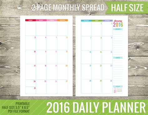 printable daily planner free 2016 9 best images of free printable 2016 daily planner 8 5 x
