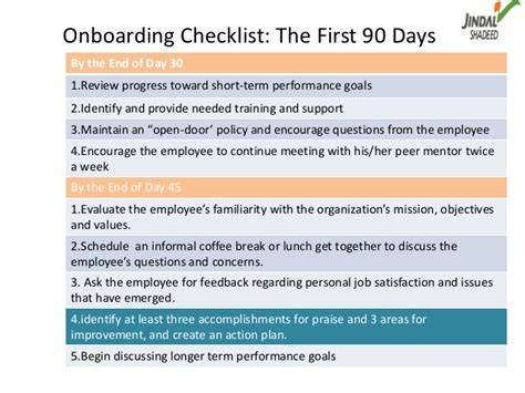 onboarding checklist the first 90 daysby the end of day