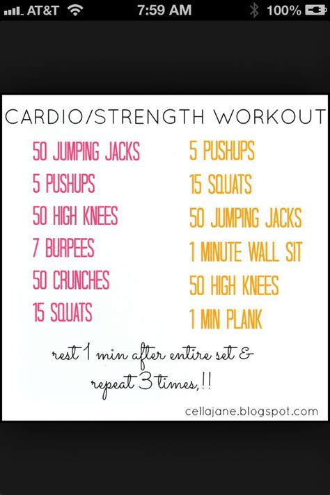 printable workout indoor cardio crusher weight loss tips 17 best images about cardio at home without equipment on