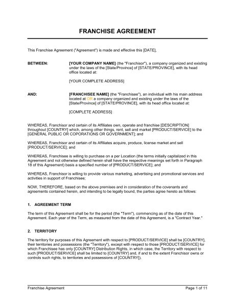 franchise agreement template franchise agreement template sle form biztree
