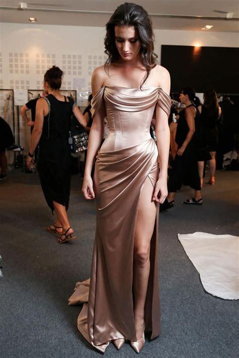 Glossy Dress glossy prom dresses the shoulder side slit evening