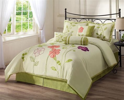 floral king comforter 7pcs applique purple pink floral green leaf ivory