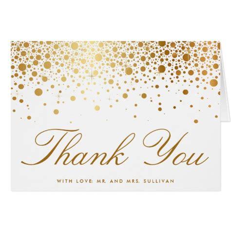 free printable elegant thank you cards faux gold foil confetti elegant thank you card zazzle