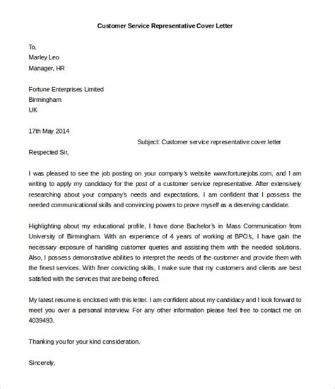 Customer Service Representative Cover Letter Sle by Cover Letter Sle Customer Service Representative 28 Images Cover Letter For Customer Service