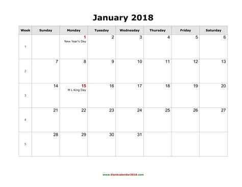 Blank Monthly Calendar 2018   calendar template excel