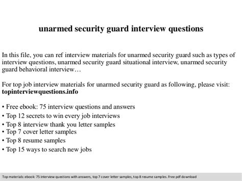 Thank You Letter For Security Guard Unarmed Security Guard Questions