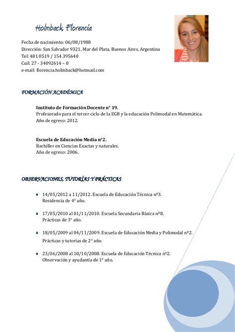 Curriculum Vitae Modelo Para Completar Docente Curriculum Vitae Docente
