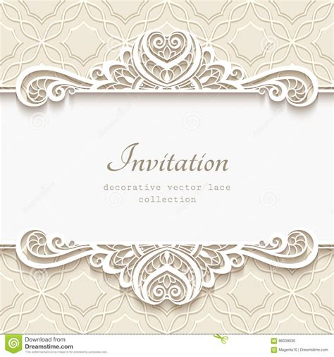 Wedding Paper With Border by Ornamental Paper Frame With Lace Border Stock Vector