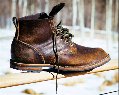 viberg service boot in black waxed flesh in brown for
