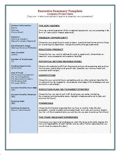 executive summary template free microsoft word templates