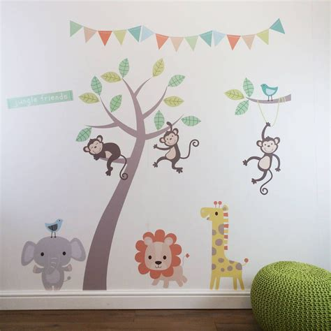 Pastel Nursery Decor Pastel Jungle Animal Wall Stickers