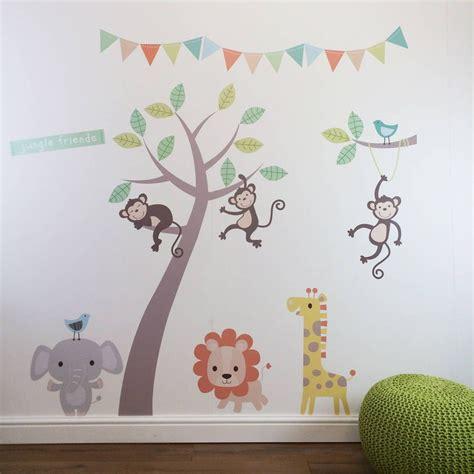 Pastel Nursery Decor Pastel Jungle Animal Wall Stickers