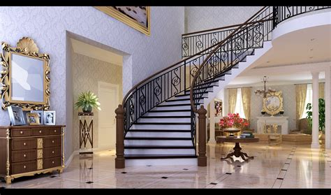 fancy staircase classic hall with fancy stairs 3d model max cgtrader com