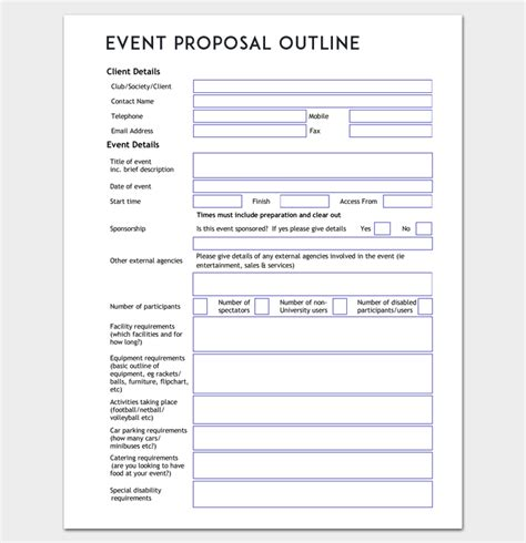 starting an event planning businesst template planner proposal free