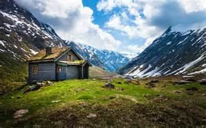 small house in the mountains of norway wallpapers and images wallpapers pictures photos