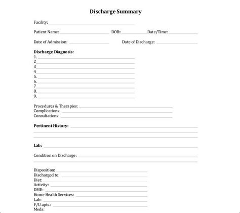 9 Discharge Summary Templates Pdf Doc Free Premium Templates Discharge Template