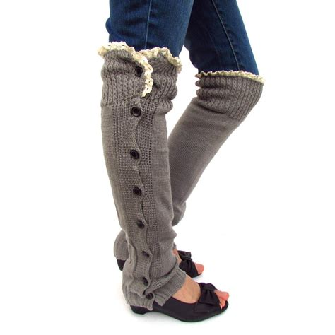 knitted boots with buttons new wool knit xlong button leg boots socks w top lace ebay