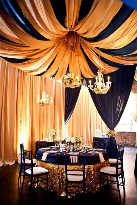 ceiling drapes for rent navy blue gold ceiling drapes wall drapes pinterest