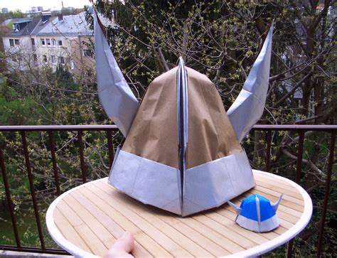 viking helmet origami by mitanei on deviantart