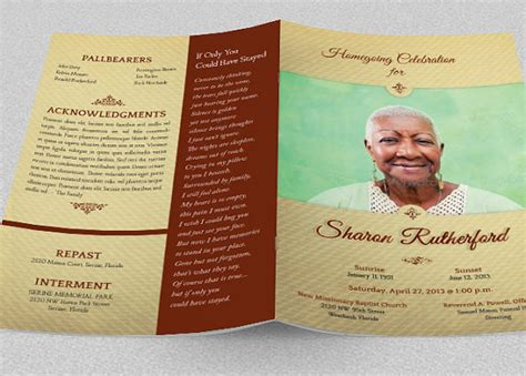home going funeral program publisher template by godserv