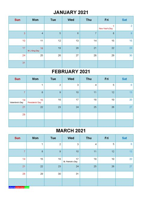 printable january february march  calendar template