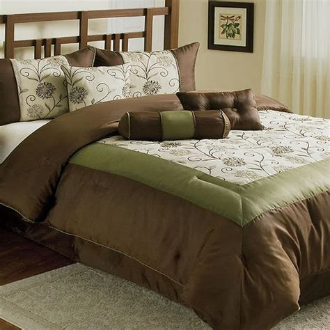 brown and green comforter victoria delaney queen 5 piece embroidered comforter set