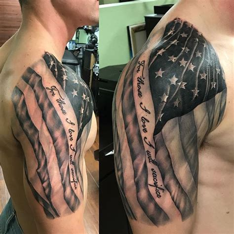 american flag back tattoos amazing american flag shoulder veteran ink