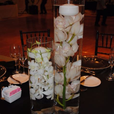 Floating Orchids In Vase by Glass Cylinder Vases Submerged White Dendrobium And