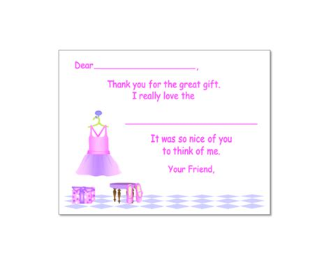 Thank You Letter To Ballet Ballet Fill In Thank You Note