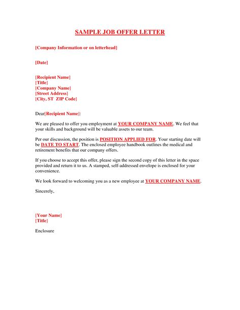 offer of employment letter template free free sle offer letter template templates at