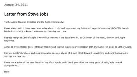 Mahnung Muster Höflich Apple Inc Steve Resigns As Ceo Of Apple