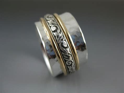 mixed metal spinner ring silver gold copper spinner ring triple mixed metal spinner ring spinner ring sterling