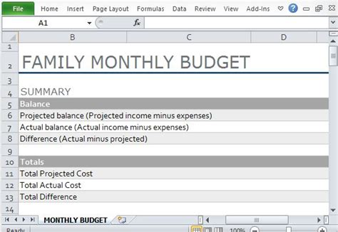 Free Home Interior Design by Monthly Family Budget Template For Excel