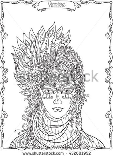 venetian masks coloring book for adults buddha ornate mandala stock vector