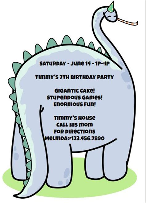 Dinosaur Invitation Template