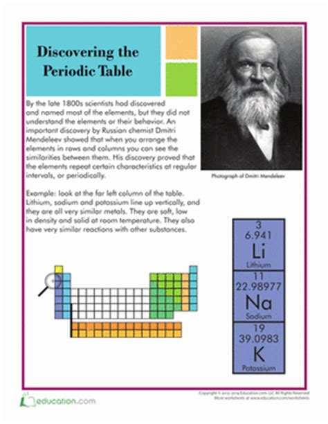 history of the periodic table history of the periodic table worksheet education com