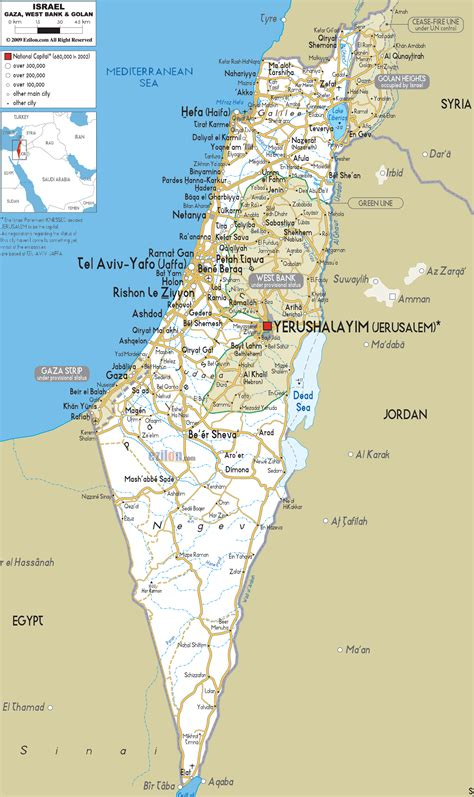 printable map israel detailed clear large road map of israel ezilon maps