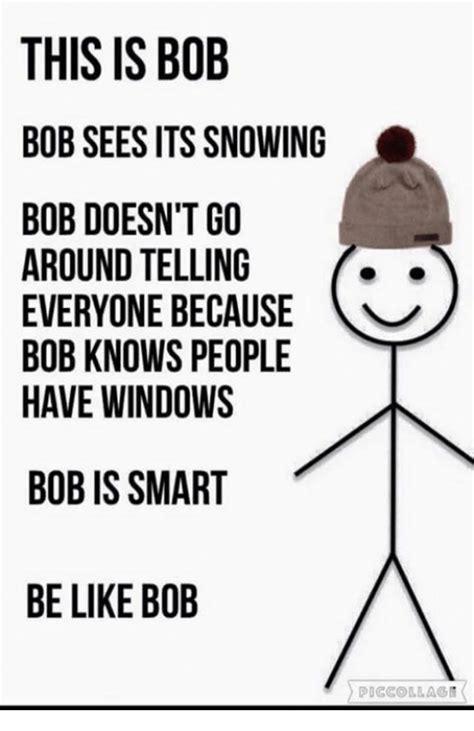 Bob Meme - this is bob bob sees its snowing bob doesn t go around telling y everyone because bob knows
