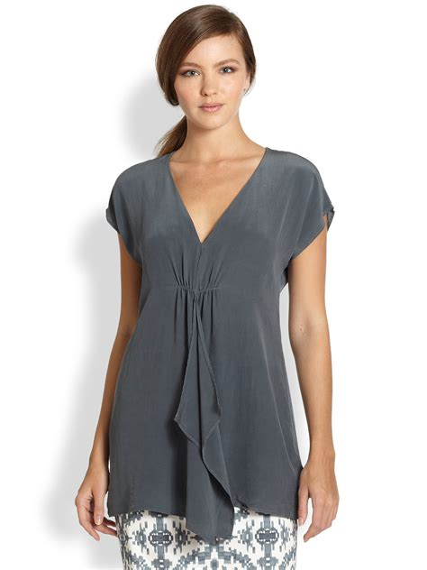 draped silk blouse peserico draped silk blouse in gray blue lyst
