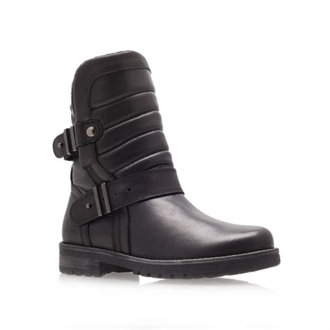 kurt geiger abingdon flat biker boots in black for lyst