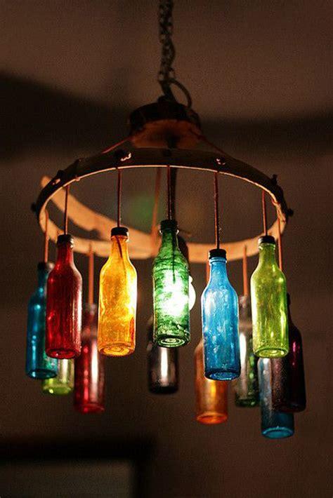 Diy Bottle Chandelier Colorful Wine Bottle Light Fixture