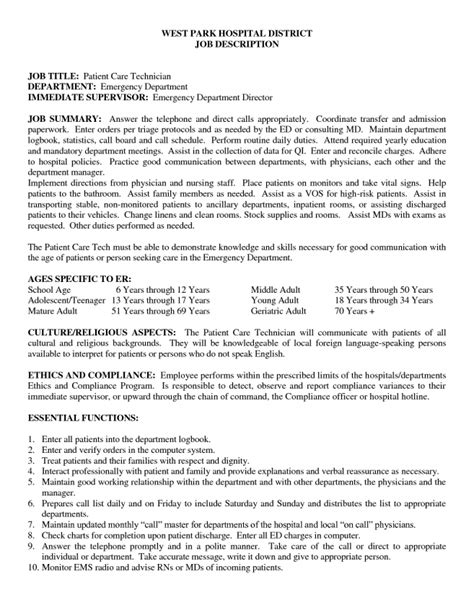 resume 13 patient care technician description for